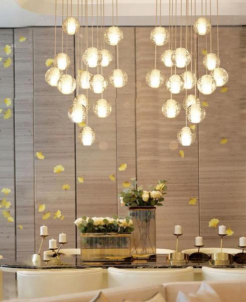 Длинная лестница люстра Гостиная зал лестница люстра освещение K9 кристалл падение висячие лампы высокого потолка люстра AC110-240V