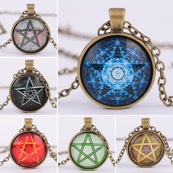 6 stilleri Moda Vintage Takı gizemli Pentagram daire Cam Lockets kolye Kolye kadın ve erkekler Için Unisex cadılık Kolye