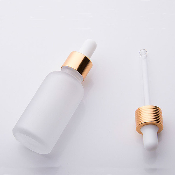 whole sale 30ml frosted glass dropper bottle essential oil glass bottle with gold sliver black cap