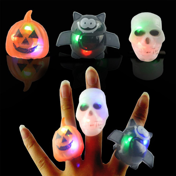 BRELONG 2 pcs Halloween Props Neat Toys Halloween Pumpkin Skull Bat Ring Lights Illuminated LED Ring