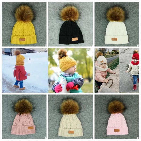7 color baby Pom pom Beanie Kids Warm Winter Crochet Ski Cap Wool Knit Beanie Fur Bobble Hat Fashion Kids cap