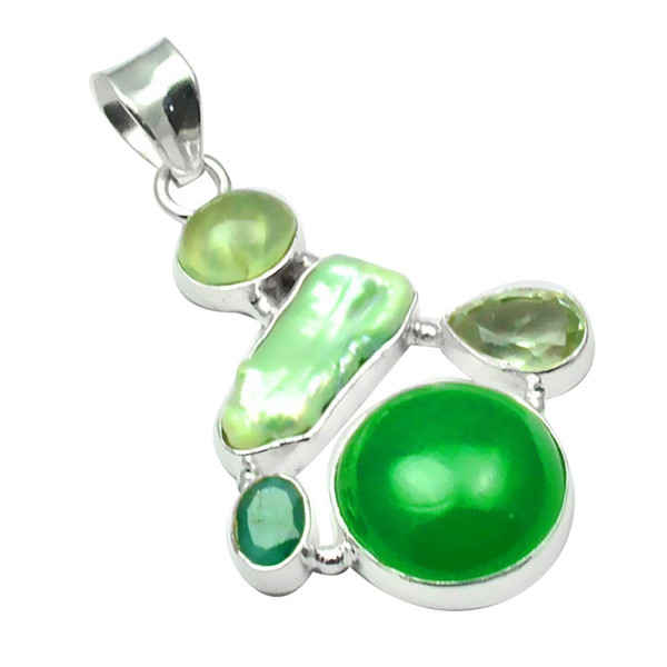 NiaoZaiFei YunZaiKan Onice verde genuino + Perla Biwa + Pendente Prehnite in ametista verde Argento sterling 925, 46,9 mm, 2SP0152