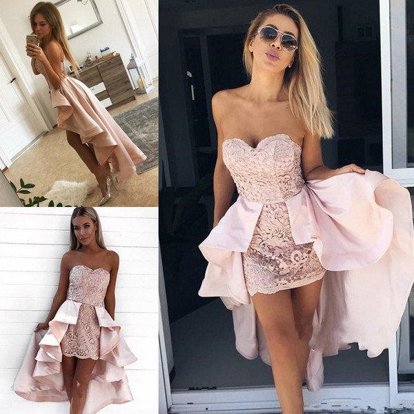 Sweetheart Sexy Lace Mini Short Prom Dresses with Satin Overskirts High Low Cocktail Party Gowns