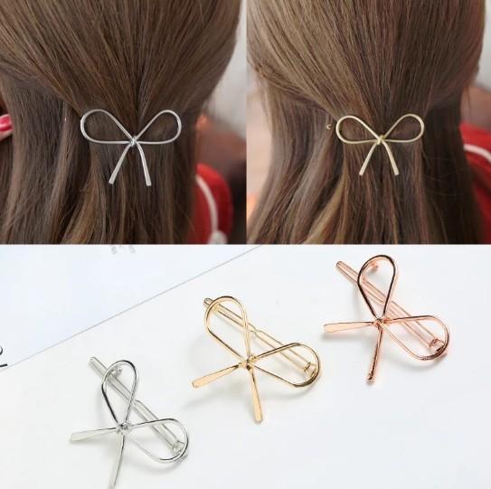 Bowknot Hair Clips Silver Hair Clips Gold Tone Rose Gold Womens Hair Barrettes Clip Metal Hairpin
