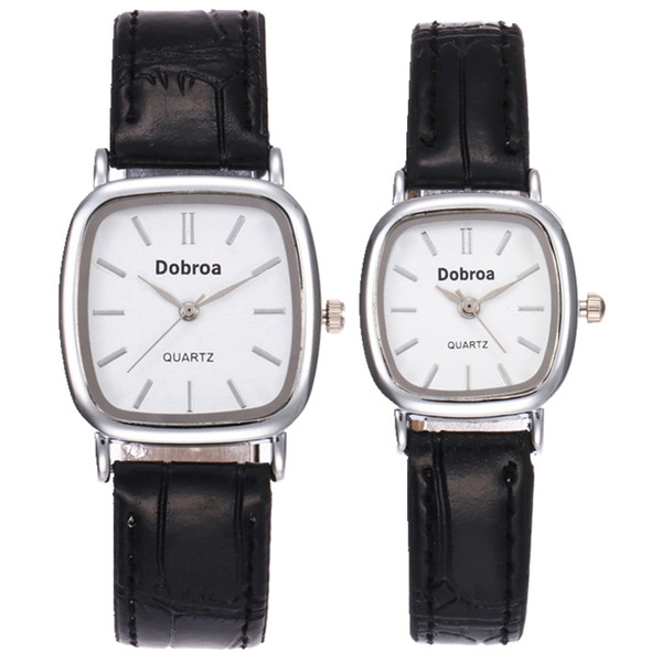 Fashion small square dial simple design leather watch unisex mens women lovers couple leisure dress party quartz wrist watches