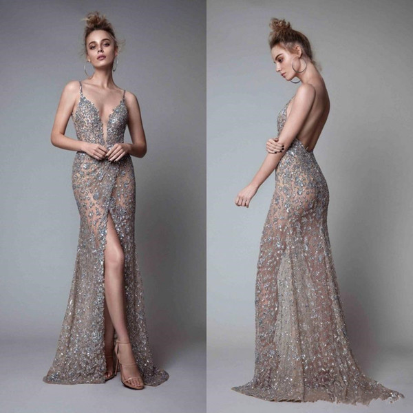 2019 New Rhinestones Sleeveless Plunging Neckline Prom Dress Backless Floor Length Formal Evening Gowns Berta Front Split Evening Dresses