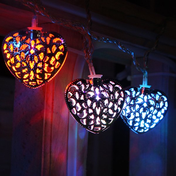Network Red Money Heart Lamp Owner Sowing Room Bedroom Decoration Wrought Iron Love Led Coloured Lights Flash Lamp Battery Box Light String