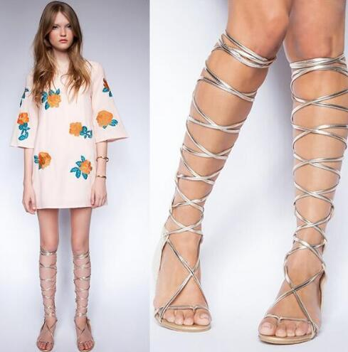 Newest Fashion Women shoes Hot Sale Top Quality Cut-out Stree Style Cool Summer Sexy Knee High Flat Clip-toe Gladiator Silver