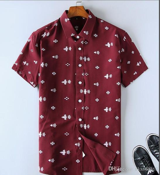 2019 hombres de la marca de negocios vestido informal camisa de manga corta a rayas slim fit masculina social masculina camisetas nuevas camisas comprobadas 20060