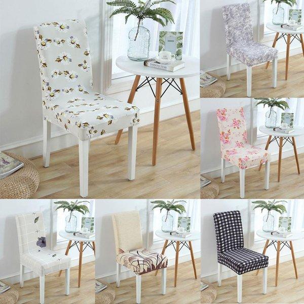 1pcs Chair Covers Spandex Brown Sliver Elastic Chair Covers Estilo americano para Cadeiras da festa de casamento Jantar Restaurante