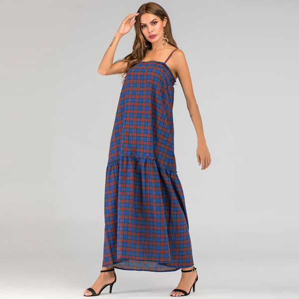 2019 women dress fashion womens streetwear best sell plaid strap stitching long summer dresses panelled type womans clothes casual skirts