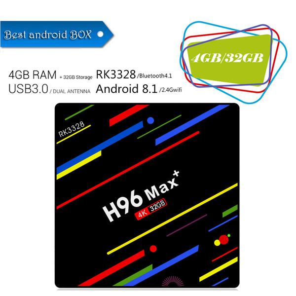 Orijinal H96 max + artı 4 GB 32 GB RK3328 Android 8.1 TV Kutusu 4 k 2.4G wifi Medya Oynatıcı