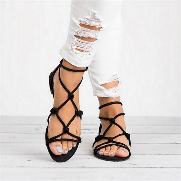 Oeak 2019 Summer Women Flat Sandals Braided Strap Beach Shoes Open Toe Back Zipper Roman Sandals