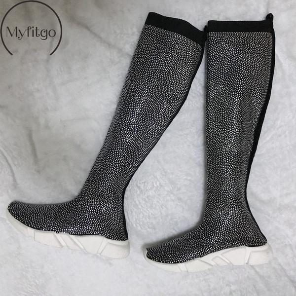 Kadın Blingbling Kristal Uyluk Yüksek Sneakers Çizmeler Kadın Örgü Çorap Rhinestones Uzun Çizmeler Kadın Bahar Diz Üzerinde