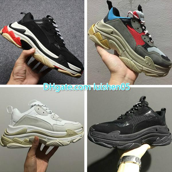 New 2019 Triple Shoe Men Women Sneaker High Quality Mixed Colors Thick Heel Grandpa Dad Trainer Triple-S Casual Shoes With Elevator Shoes n0