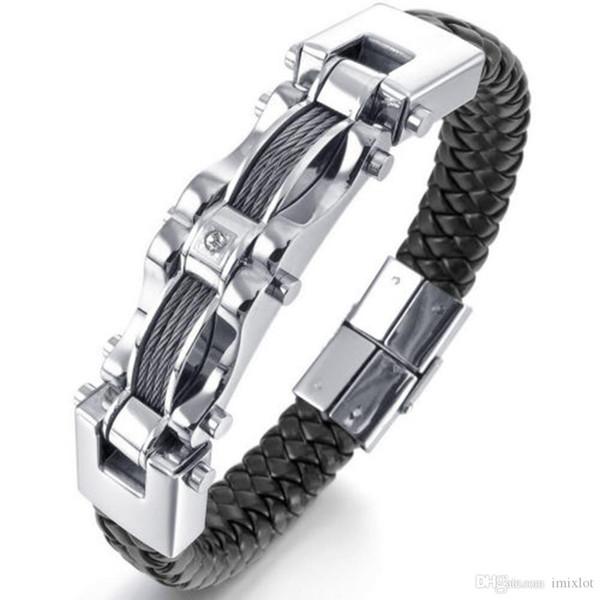 New Fashion Mens Braided Black Leather Stainless Steel Bracelet Heavy Biker Wire Cuff Bracelets & Bangles JBN0050