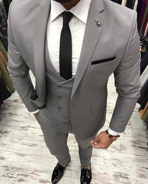 Costume Homme Light Grey Men Suit Slim Fit 3 Piece Skinny Groom Tuxedo Prom Suits Custom Terno Masculino Blazer Jacket+Pant+Vest
