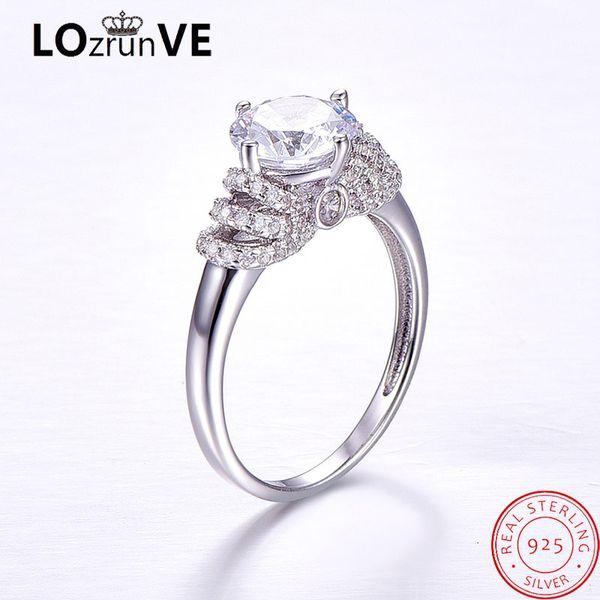 Gros design original 925 bijoux en argent sterling dames brillent grosse pierre CZ élégante princesse bague de mariage femmes en gros