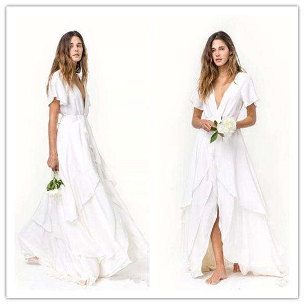 Slits Röcke Romantic Beach böhmischen Brautkleider Günstige Short Sleeves Deep V Neck Layered Zug Silk Satin Chiffon Brautkleider
