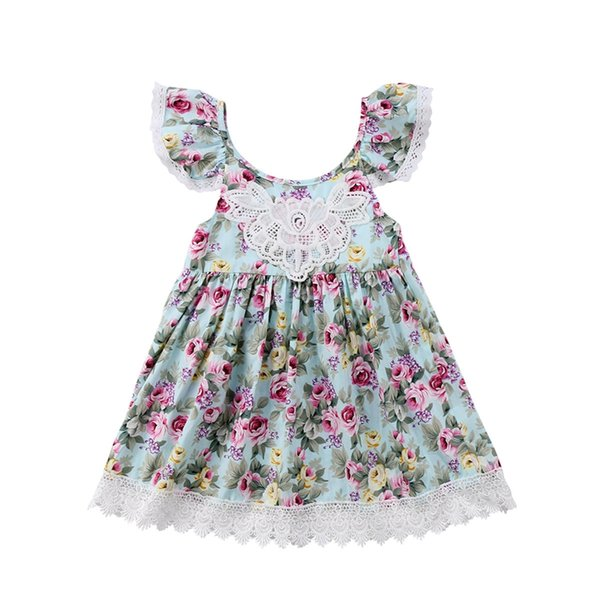 New design Flower girls dress baby princess skirt lace sling O-neck summer party dresses children clothes 2-7T