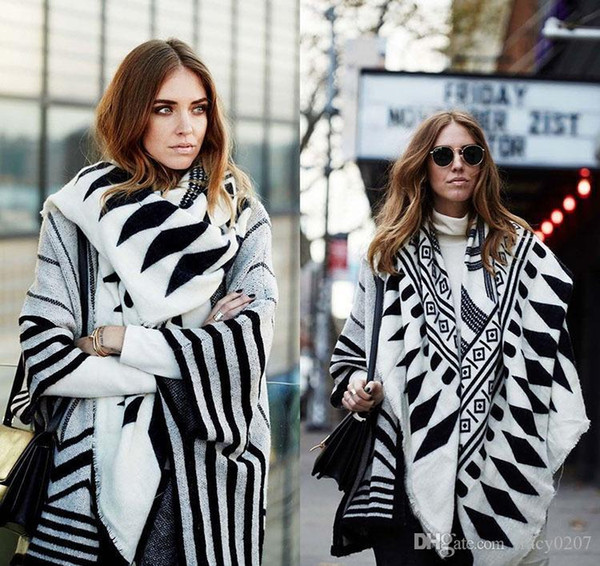 Neue Damen Winter Poncho Drucktuch Frauen-Dame Knit-Schal Cape Kaschmir-Schal-Poncho Mode-Accessoires