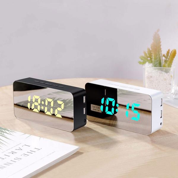 1Pcs Alarm Clock- LED Mirror Display Powered USB Charging Port Battery Dimmer. Temperature Display