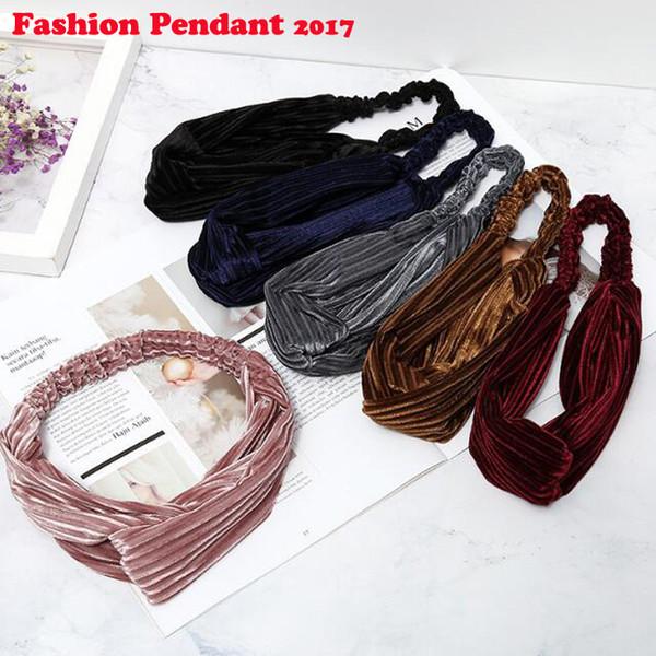 2019 New Fashion Headbands Headwear for Women Knitting velet Stripe Pattern hairbands Flexible Multicolor dhl shipping