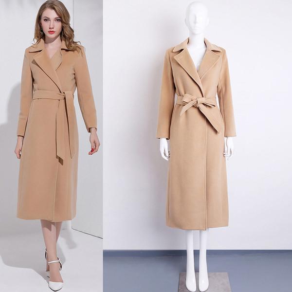 Office Lady Belt Women Long Winter Wool Blend Coat Turn-down Collar Wool Coat and Jacket Solid Outerwear