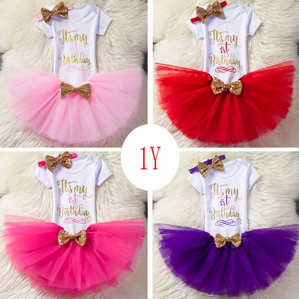 Cute Baby girl birthday outfits 1st 2nd 1/2 Birthday party clothes Letter Romper+tutu skirt+Sequins Bow headband 3pcs/set Boutique 2019 Hot