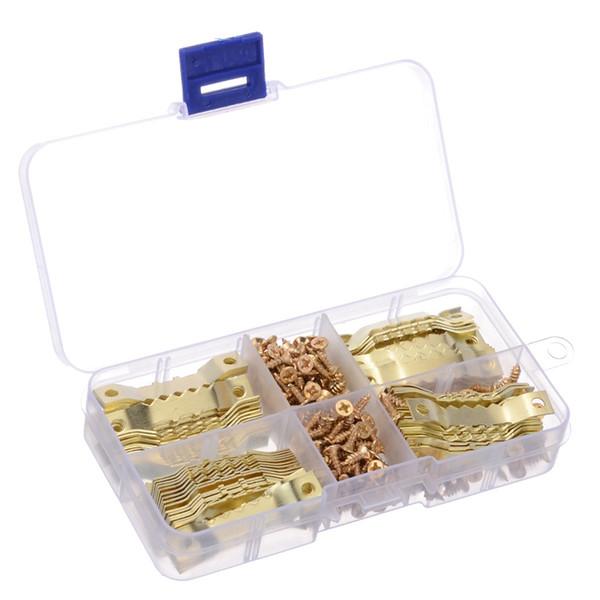 100 jeux doré dents de scie cadre photo suspensions photo peinture à l'huile miroir crochets matériel avec vis cintres en cintres