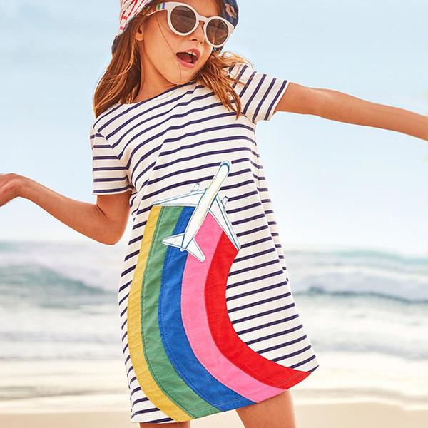 European and American style summer new girls princess dress cotton strip short sleeve dress cartoon plane children skirt
