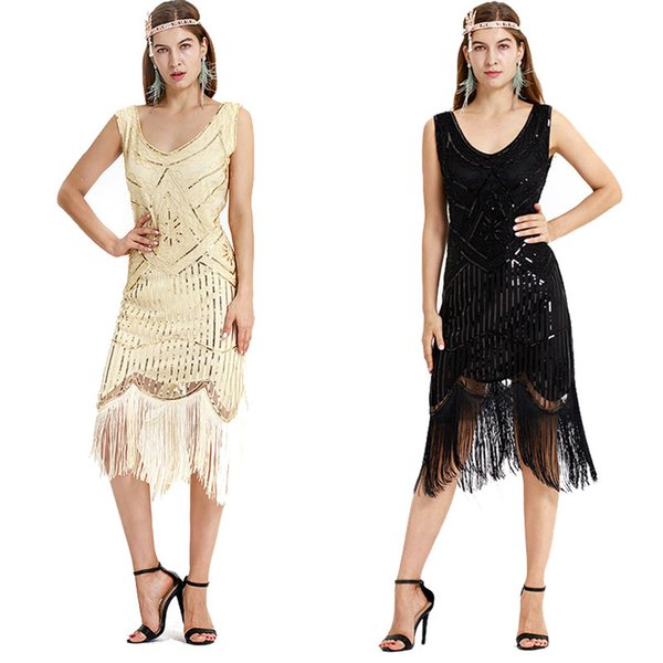Lady 1920s Vintage Black Sliver Gatsby Flapper Dress V Neck Sequins Beading Tassel Evening Party Dress Fringe Costume For Women