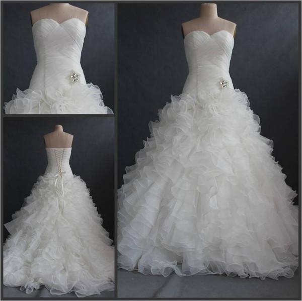 Sweetheart Sweep Train Tiered Skirts Cascading With Ruffle Organza Mermaid Wedding Dresses