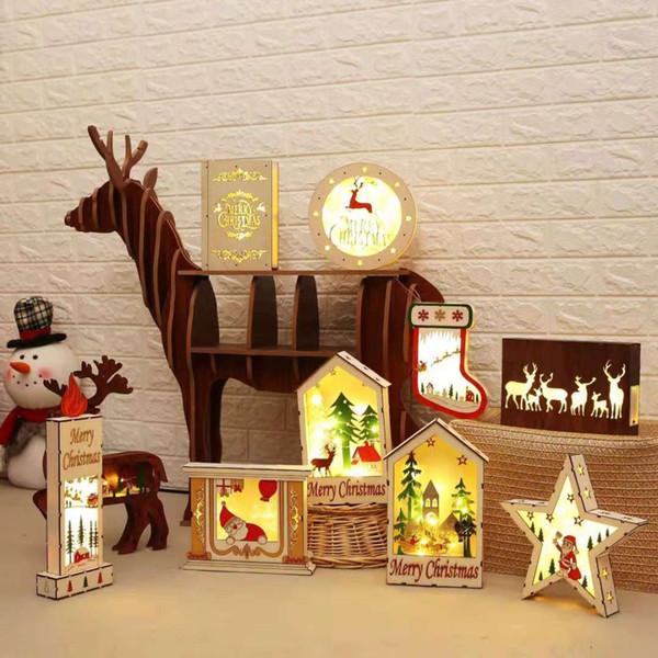 Calzini di legno a LED Stella di fiocco di neve Stivali di Babbo Natale Albero di Natale Appesi ornamenti in legno Decorazioni natalizie per la casa e il regalo di Natale