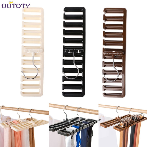 10 grid Storage Rack Tie Belt Scarf Rack Organizer Closet Wardrobe Space Saver Tops Bra Rotating Hanger Holder with Metal