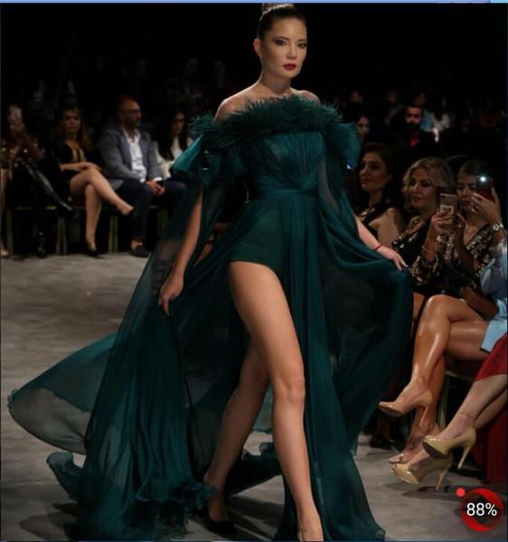Evening dress Yousef aljasmi Labourjoisie Zuhair murad A-Line Strapless Long Sleeve Hunter Chiffon Split Front/Side Long Dress James_paul