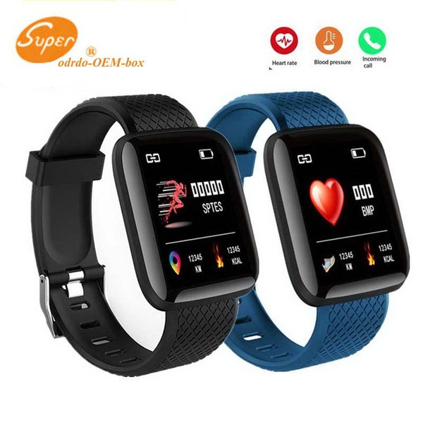 Smart Band Watch Fitness Tracker Pedometro Bluetooth Sport ID 116 Plus Braccialetto intelligente Fasce da polso Frequenza cardiaca Pressione sanguigna