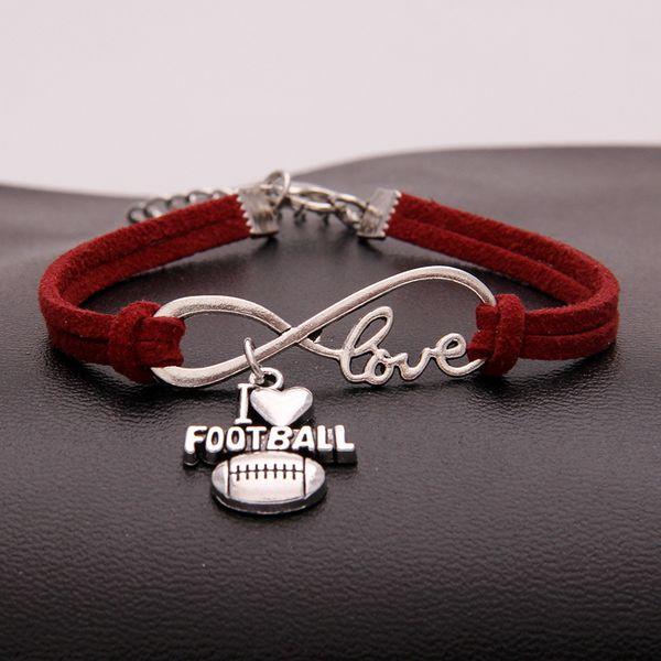 Red Leather Rope Bracelet for Women Men Vintage Bangles Female Jewelry Infinity Love I Heart Football Charm Wristband Gift pulseira feminina