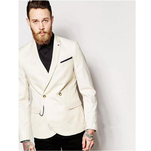 New Style Mens Custom Suits 2018 Peaked Lapel Ivory Wedding Dress Men Prom Tuxedos For Men Groom Suit (Jacket+Pants)