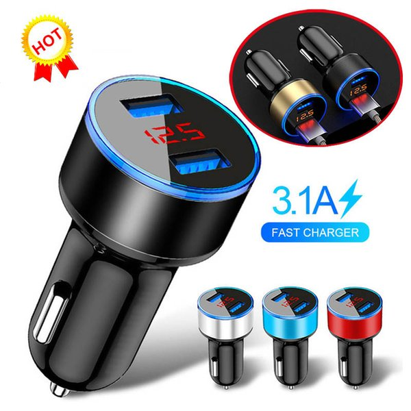 2.1A Dual USB Car Charger 2 Port LCD Display 12-24V Cigarette Socket Lighter For Iphone 6s 6 plus SE for Samsung S6 S5 S4 mobile