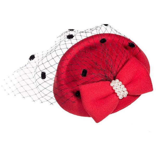Elegant Fascinators Black Red Weddings Pillbox Hat For Women Straw Fedora Vintage Ladies Church Dress Sinamay Derby Hats D19011103