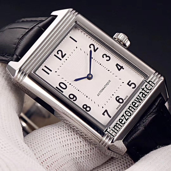 New Reverso Classic Medium Thin 2548520 Miyota 8215 Automatic Mens Watch Steel Case White Dial Black Leather Strap Timezonewatch E26a1