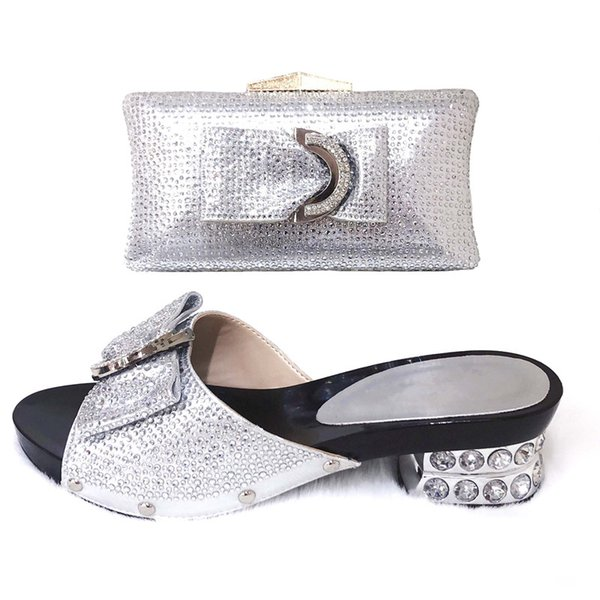 2019 New Silver Color Matching Shoes and Bags Italian In Women Nigerian Party Shoe and Bag Sets Women Shoes and Bag Set Italy