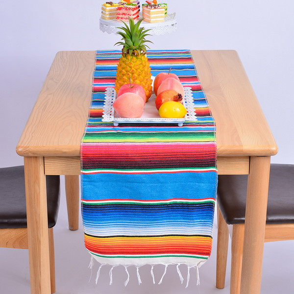 14x84 Inch Mexican Serape Table Runner Cloth Cover Fringe Cotton Table Runner For Mexican Tablecloth Party Wedding Decoration