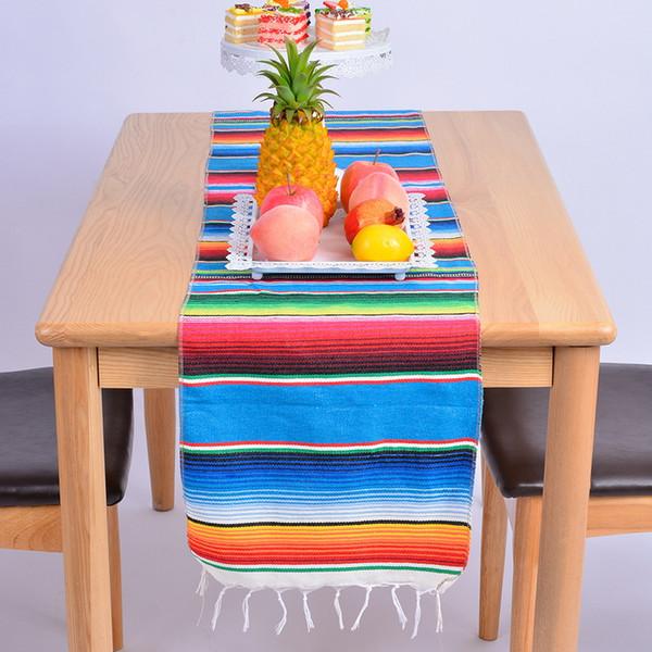 14x84 Pouce Mexicain Serape Table Coureur Couverture De Tissu Frange Coton Chemin De Table Pour La Nappe Mexicaine Partie De Mariage Décoration