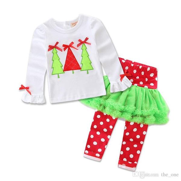 Children Christmas clothing Outfits for baby girl Cute Pajamas set Petal top+ pant 2017 Snowman Santa Christmas Tree dress In stock