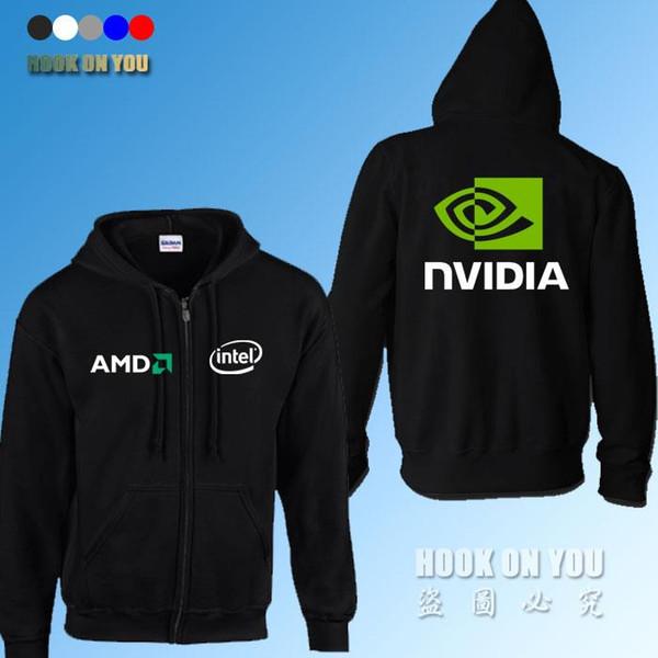 GPU Graphics Nvidia LOGO Print sweatshirts AMD intel Nvidia Hoodies Gamer clothing fleece zipper Hoodies
