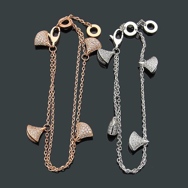 Nouveau titane en acier 316L plaqué or rose / argent lettre B jupe cristal double couche bracelet femme bracelet bijoux accessoires
