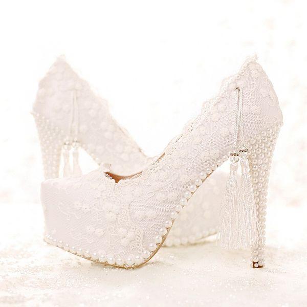 Printemps et été Blanc Dentelle Chaussures De Mariée Robe De Mariée Chaussures Douceur Talons Hauts Fête De Mariage Satin Shose Parti Prom Pompes