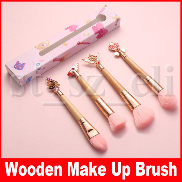 Wooden makeup bru he beautiful profe ional blu h loo e powder foundation make up bru h tool with box 4 tyle